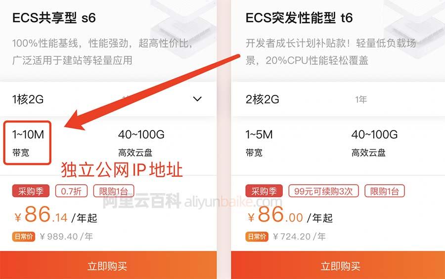 阿里云ECS共享型s6服务器独立IP